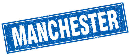 manchester: Manchester blue square grunge vintage isolated stamp