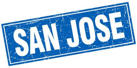san jose: San Jose blue square grunge vintage isolated stamp