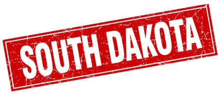 south dakota: South Dakota red square grunge vintage isolated stamp