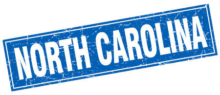north carolina: North Carolina blue square grunge vintage isolated stamp Illustration