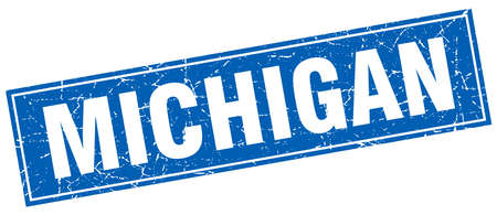 michigan: Michigan blue square grunge vintage isolated stamp