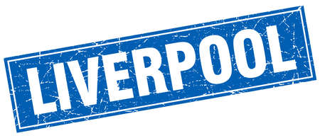liverpool: Liverpool blue square grunge vintage isolated stamp