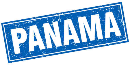 Panama blue square grunge vintage isolated stamp