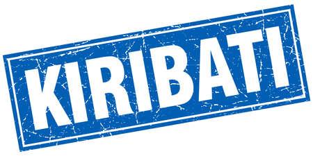 kiribati: Kiribati blue square grunge vintage isolated stamp