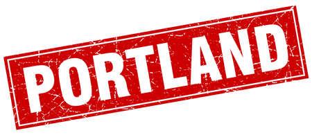 portland: Portland red square grunge vintage isolated stamp