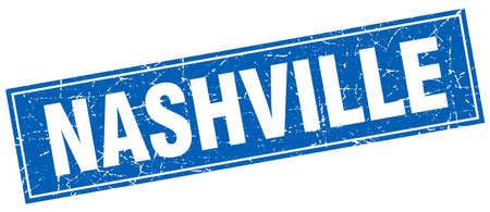 nashville: Nashville blue square grunge vintage isolated stamp