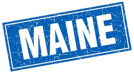 maine: Maine blue square grunge vintage isolated stamp Illustration