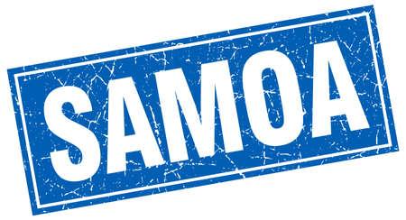samoa: Samoa blue square grunge vintage isolated stamp