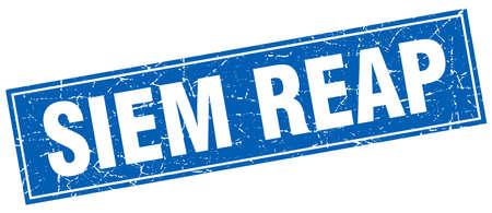 siem reap: Siem Reap blue square grunge vintage isolated stamp