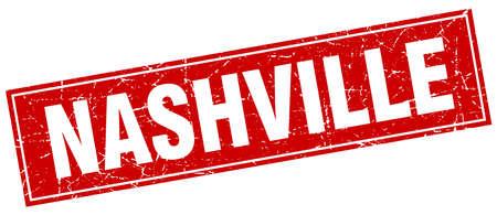 nashville: Nashville red square grunge vintage isolated stamp Illustration