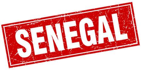 senegal: Senegal red square grunge vintage isolated stamp