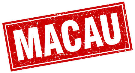 macau: Macau red square grunge vintage isolated stamp