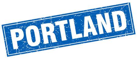 portland: Portland blue square grunge vintage isolated stamp Illustration