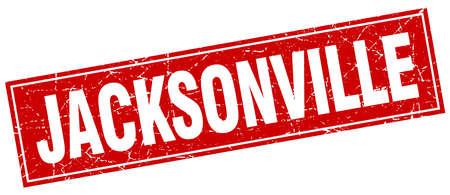 jacksonville: Jacksonville red square grunge vintage isolated stamp