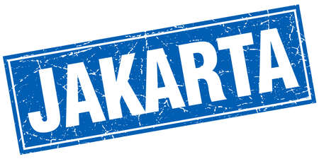 jakarta: Jakarta blue square grunge vintage isolated stamp