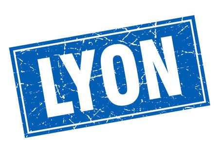 lyon: Lyon blue square grunge vintage isolated stamp Illustration