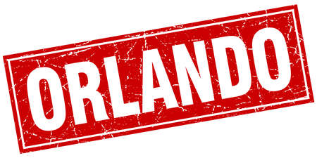 orlando: Orlando red square grunge vintage isolated stamp