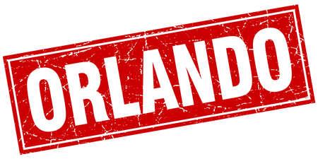 orlando: Orlando red square grunge vintage isolated stamp