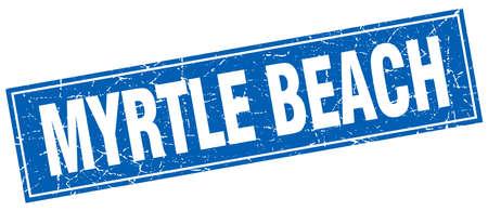 myrtle: Myrtle Beach blue square grunge vintage isolated stamp Illustration