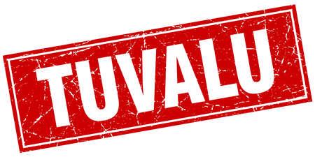 tuvalu: Tuvalu red square grunge vintage isolated stamp