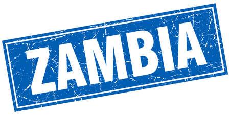 zambia: Zambia blue square grunge vintage isolated stamp Illustration