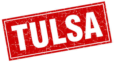 tulsa: Tulsa red square grunge vintage isolated stamp