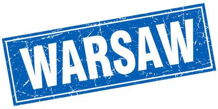 warsaw: Warsaw blue square grunge vintage isolated stamp