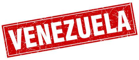 venezuela: Venezuela red square grunge vintage isolated stamp