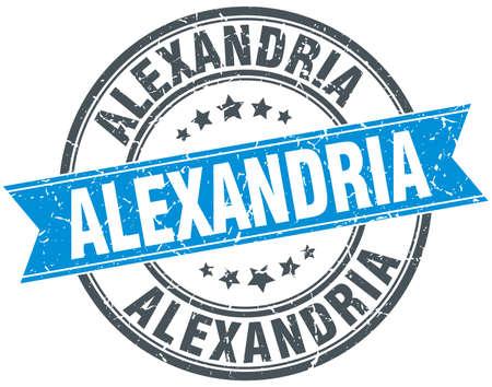 alexandria: Alexandria blue round grunge vintage ribbon stamp Illustration