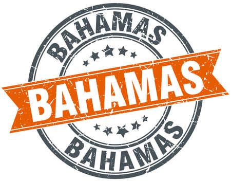 bahamas: Bahamas red round grunge vintage ribbon stamp Illustration