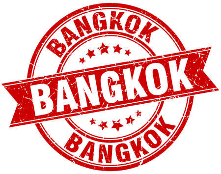 bangkok: Bangkok red round grunge vintage ribbon stamp Illustration