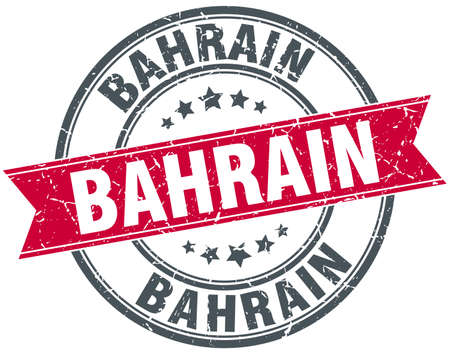 bahrain: Bahrain red round grunge vintage ribbon stamp