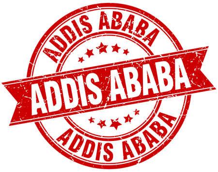 ababa: Addis Ababa red round grunge vintage ribbon stamp