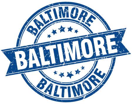 baltimore: Baltimore blue round grunge vintage ribbon stamp