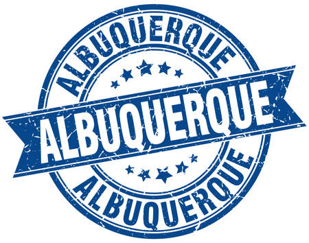 albuquerque: Albuquerque blue round grunge vintage ribbon stamp Illustration