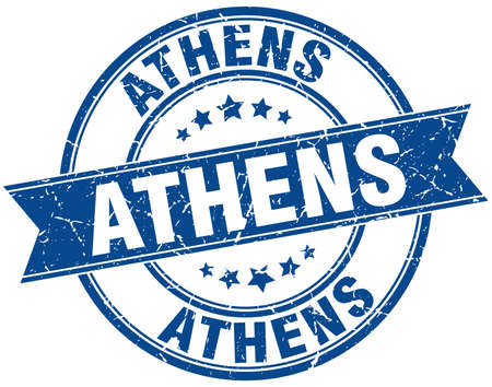 athens: Athens blue round grunge vintage ribbon stamp Illustration