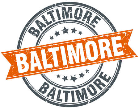 baltimore: Baltimore red round grunge vintage ribbon stamp