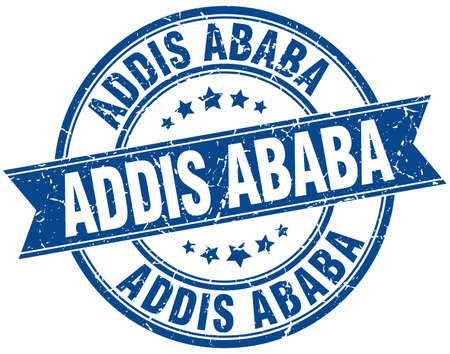 addis: Addis Ababa blue round grunge vintage ribbon stamp Illustration