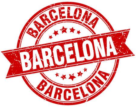 barcelona: Barcelona red round grunge vintage ribbon stamp Illustration