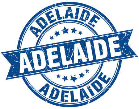 adelaide: Adelaide blue round grunge vintage ribbon stamp