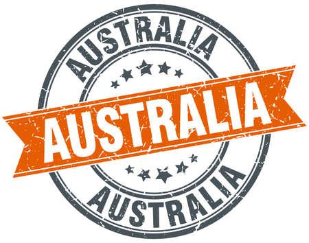 australia stamp: Australia red round grunge vintage ribbon stamp