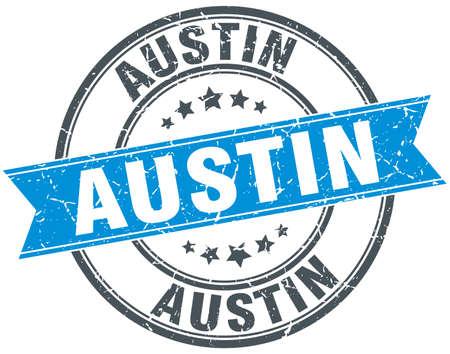 austin: Austin blue round grunge vintage ribbon stamp