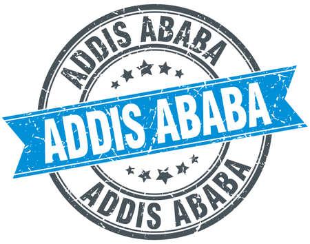 ababa: Addis Ababa blue round grunge vintage ribbon stamp Illustration