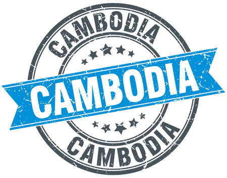 cambodia: Cambodia blue round grunge vintage ribbon stamp