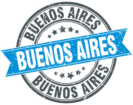 buenos aires: Buenos Aires blue round grunge vintage ribbon stamp