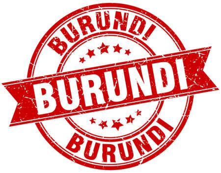 burundi: Burundi red round grunge vintage ribbon stamp Illustration