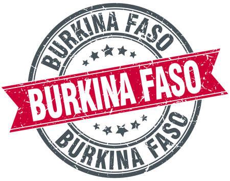 burkina faso: Burkina Faso red round grunge vintage ribbon stamp Illustration