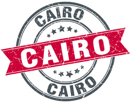 cairo: Cairo red round grunge vintage ribbon stamp