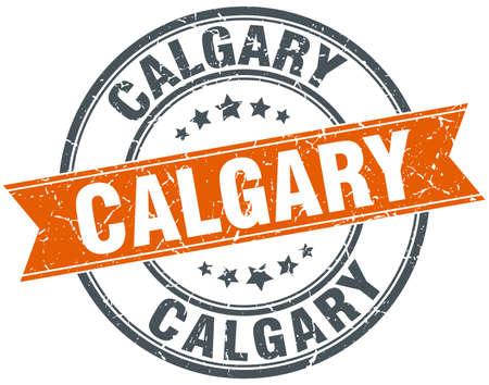 calgary: Calgary red round grunge vintage ribbon stamp Illustration