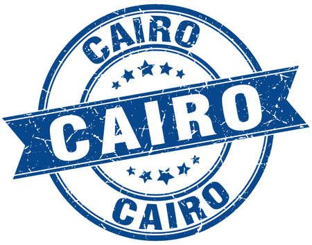 cairo: Cairo blue round grunge vintage ribbon stamp Illustration